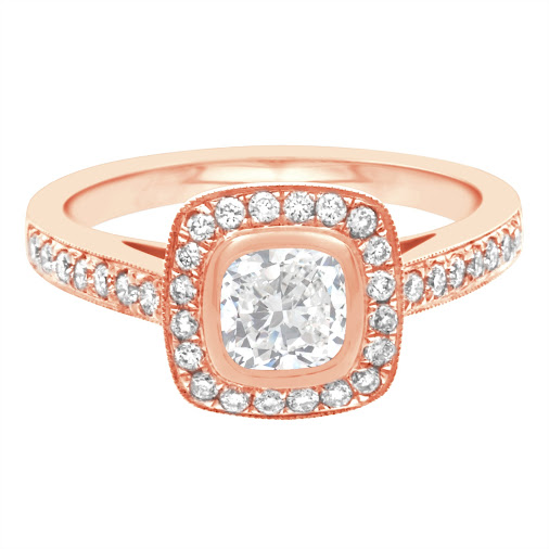 """Glenda"" is a cushion shape diamond engagement ring. Set in a wonderful rub over setting with an antique..."