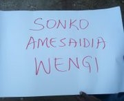 Banner displayed on the road in protesting the release of Sonko. PHOTO | BNC
