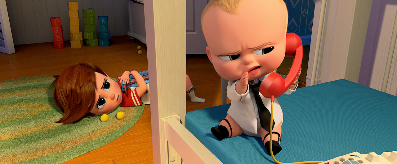 (L-R) Tim (voiced by Miles Bakshi) and Boss Baby (voiced by Alec Baldwin) in THE BOSS BABY. (Photo courtesy of DreamWorks Animation).
