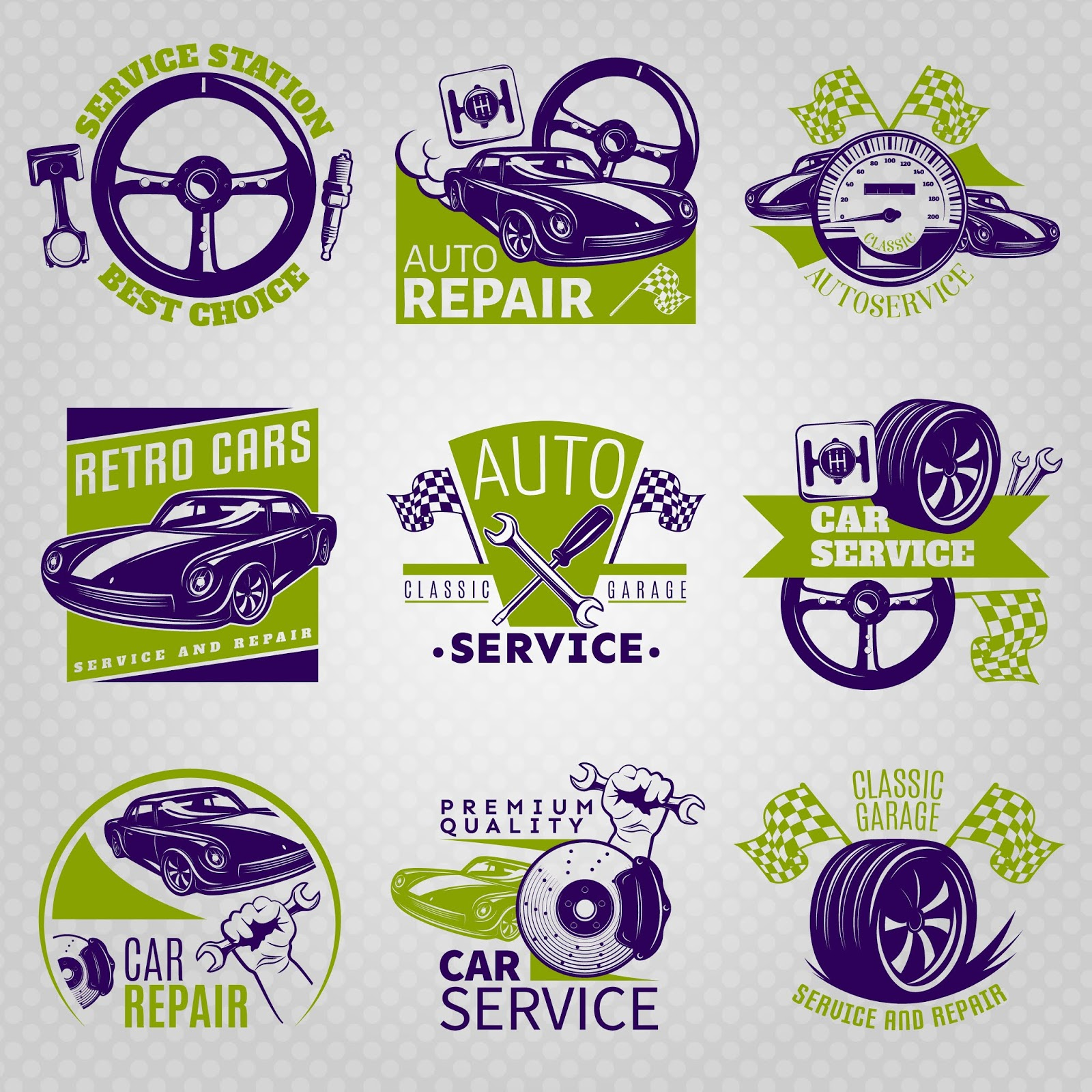 Car Repair Color Emblem Set Service Station Best Choice Different Slogans Vector Illustration Free Download Vector CDR, AI, EPS and PNG Formats