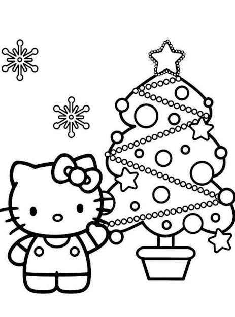 Hello Kitty Coloring Pages Christmas Tree