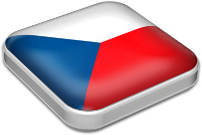Flag of Czech Republic with metallic square frame