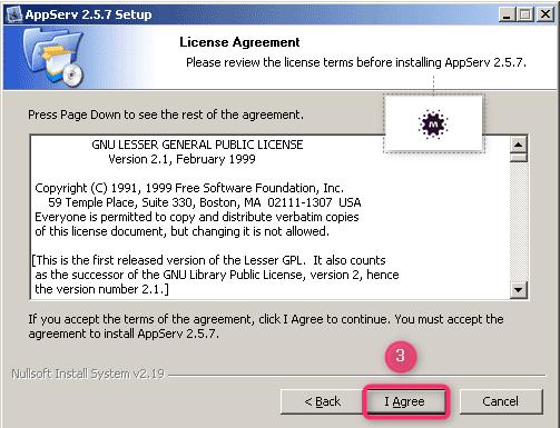 صورة توضح تثبيت السيرفر المحلي AppServ على جهازك