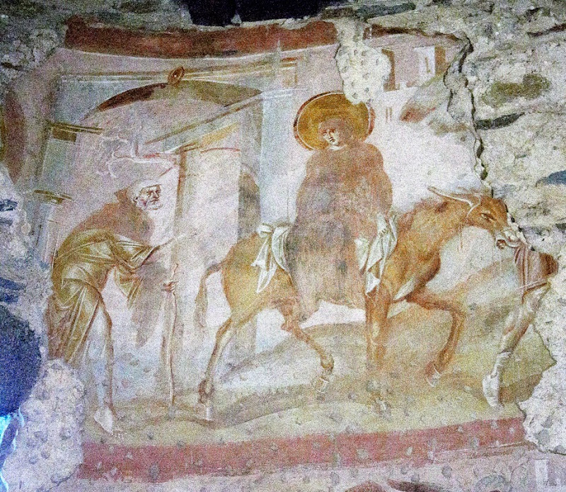 104. The Journey to Bethlehem. Fresco of VIII (?) Century. Church of Santa Maria foris portas. Castelseprio. Province of Varese. 2013