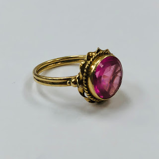 14K Gold and Pink Stone Ring