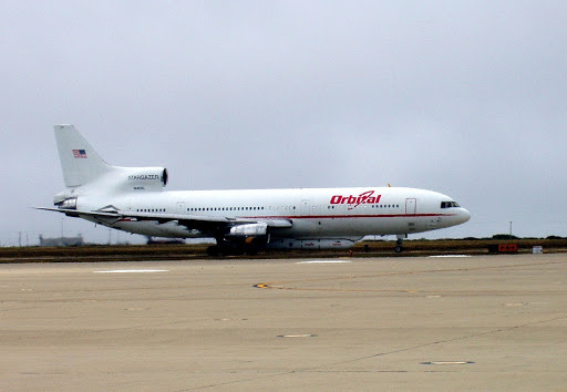 The Orbital Sciences Stargazer L-1011 aircraft is ready for takeoff with its underbelly cargo of the Pegasus XL spacecraft.