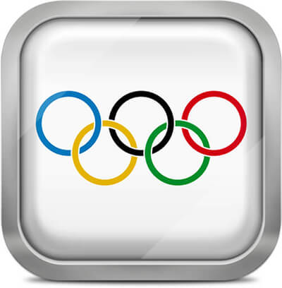 Olympic Games square flag with metallic frame