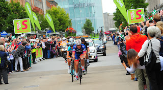 Ian Wilkinson wins the sprint on Exeter High Street