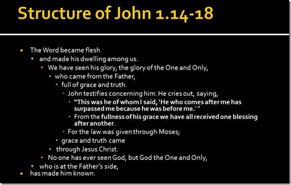 Chiastic Structure John 1.14-18