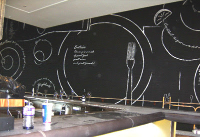 "Mural for restaurant ""mesh"". 30'x15' wall painted to look as though it's chalk on a chalkboard."