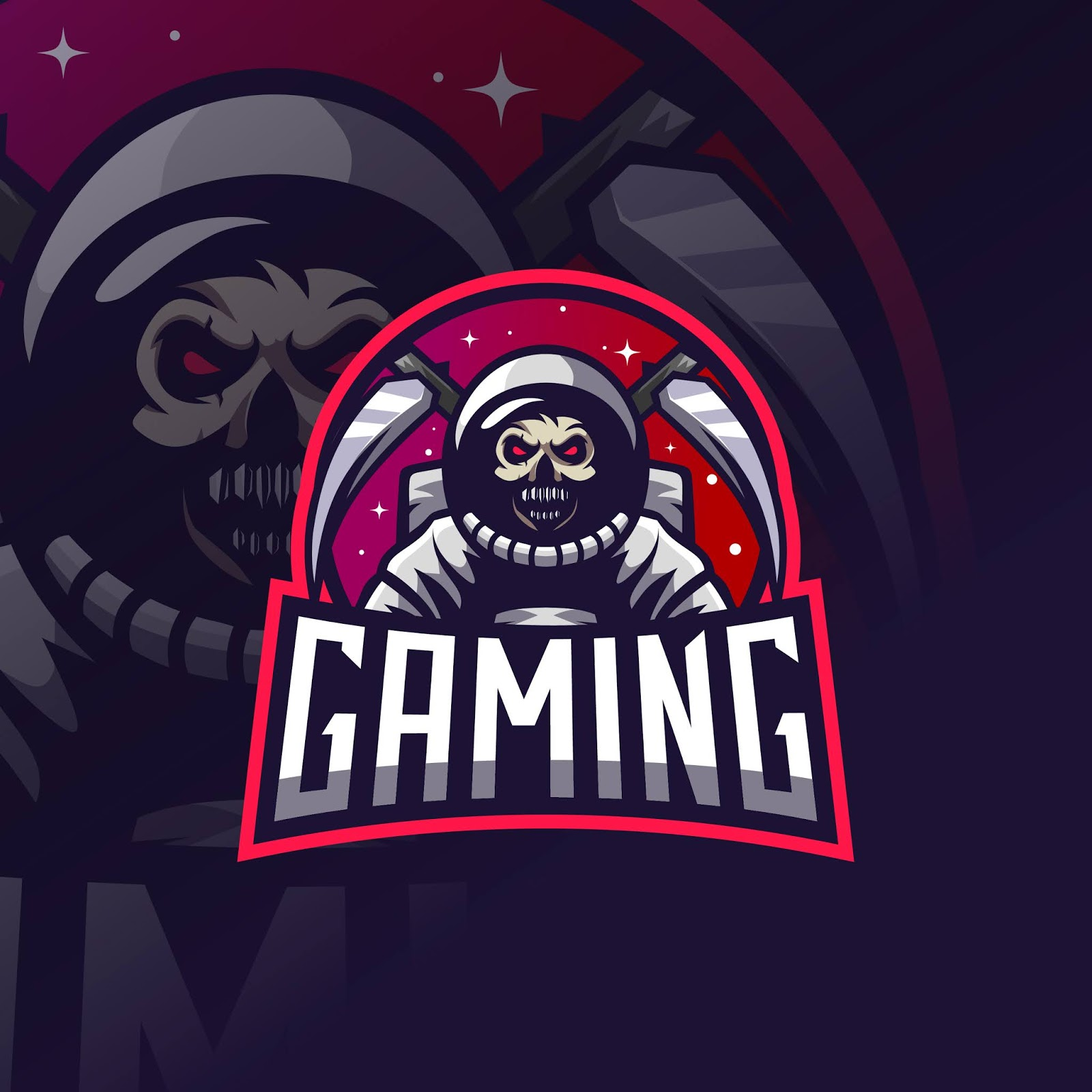 Astronaut Skull Reaper Esport Logo Free Download Vector CDR, AI, EPS and PNG Formats