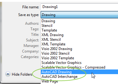 Saving Visio document as an AutoCAD drawing