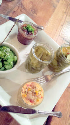 Pimento Cheese and Benton's Bacon Jam with Fresh and Preserved Pickles, served with a basket of Benne Butter Crackers