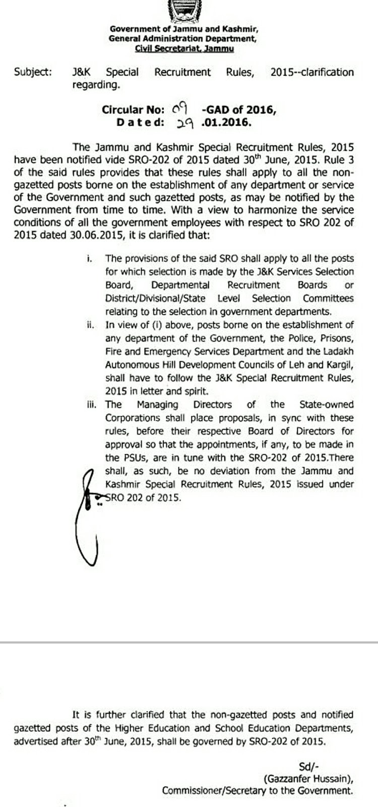 Medicos-Hub: JK SPECIAL RECRUITMENT POLICY SRO 202 of 2015