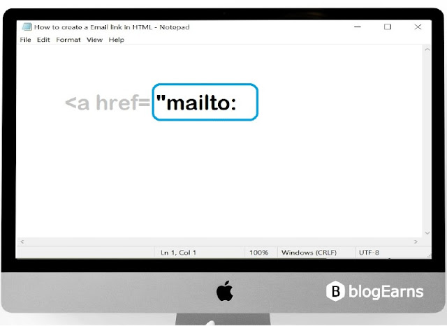 how to create an email link in HTML - step2