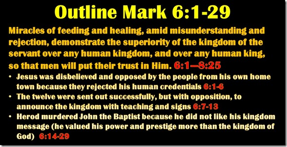 Mark 6.1-29 outline