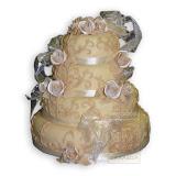13. kép: Esküvői torták - Esküvői virágos szalagos négyszintes torta