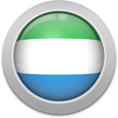 Sierra Leonean flag icon with a silver frame