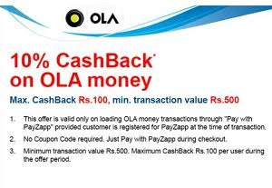 PayZapp - Get Flat 10% Cashback on Loading Rs 500 or More to Ola Wallet