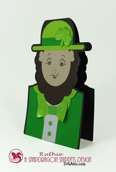 Leprechaun character shaped card, SnapDragon Snippets, Ruthie Lopez. 2