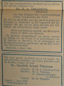 Overlijdensadvertenties voor Dr. H.A. Thiadens - Het Parool April 1945