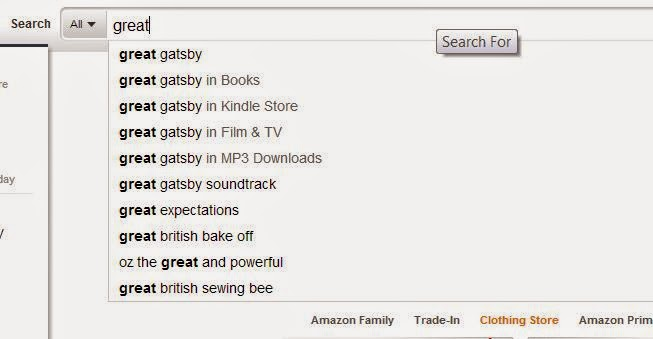 An amazon search for The Great Gatsby
