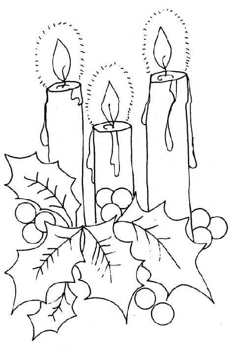 Dibujos de velas de navidad para colorear