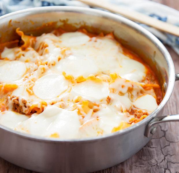 overhead photo of One Skillet Lasagna