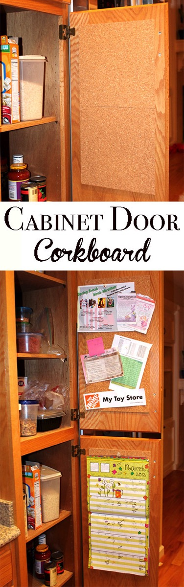 Organize all those papers in your kitchen by installing corkboard on the inside of your kitchen cabinets. Now you can find all those coupons and take out menus and they are stored out of sight!