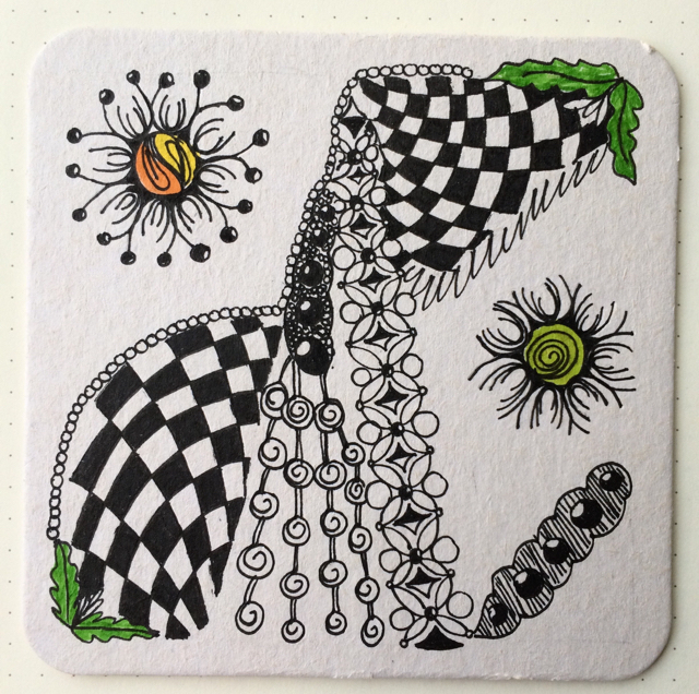 #100DaysOfDoodles | Day 47 | Zentangle Tile | The 100 Day Project 2017