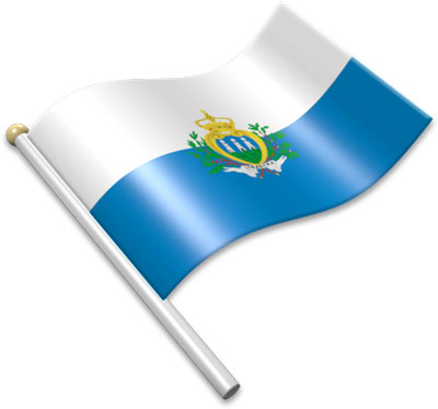The Sammarinese flag on a flagpole clipart image