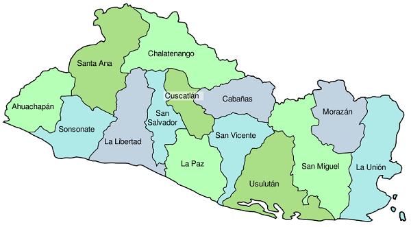 Mapa de El Salvador con sus departamentos - El Salvador Mi País