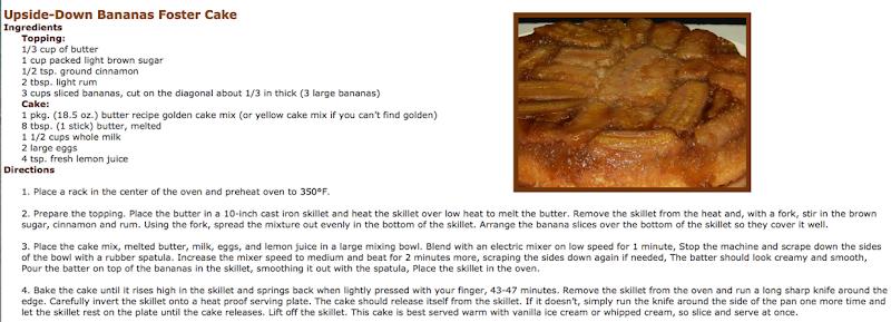 Upside-Down <p>Bananas Foster Cake