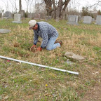 George working on his great-great-grandparents' graves
