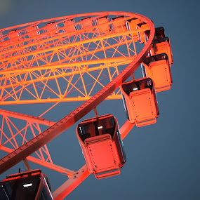 Round and Round by Michelle Bergeson - Artistic Objects Other Objects ( orange, amusement ride, blue, night, ferris wheel,  )