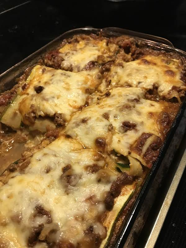 Finished Zucchini Lasagna (with One Piece Remove Because I Couldn't Wait!).