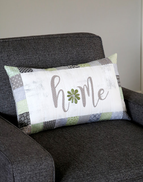 Embroidered quilted patchwork pillow by A Bright Corner
