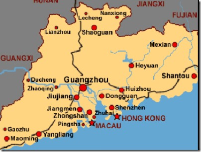Guangdong Province Map from world-shop1.com via Google Image