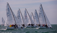 J70s sailing upwind off start at Key West