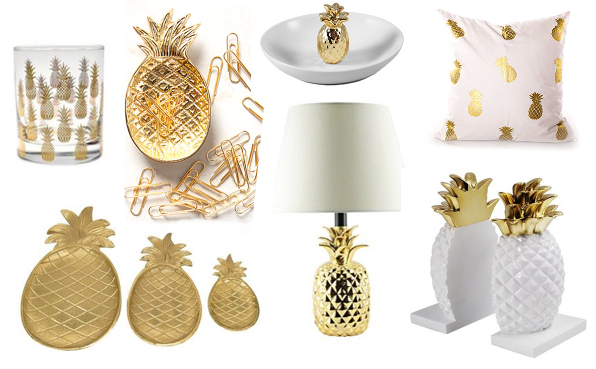 gold pineapple decor ideas - Gold Home Decor