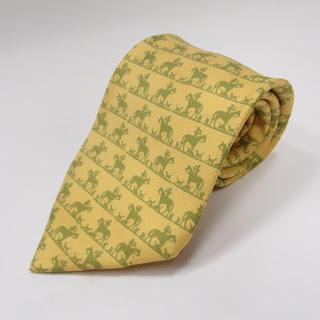 Hermès Yellow Hunting Silhouette Tie