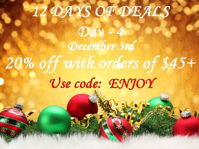 December 3: Day 4:  20% off any $45+ order CODE: ENJOY at https://maryvjjj1.avonrepresentative.com/
