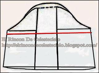 Trazo de manga casquillo sobre patrón de manga bombacha