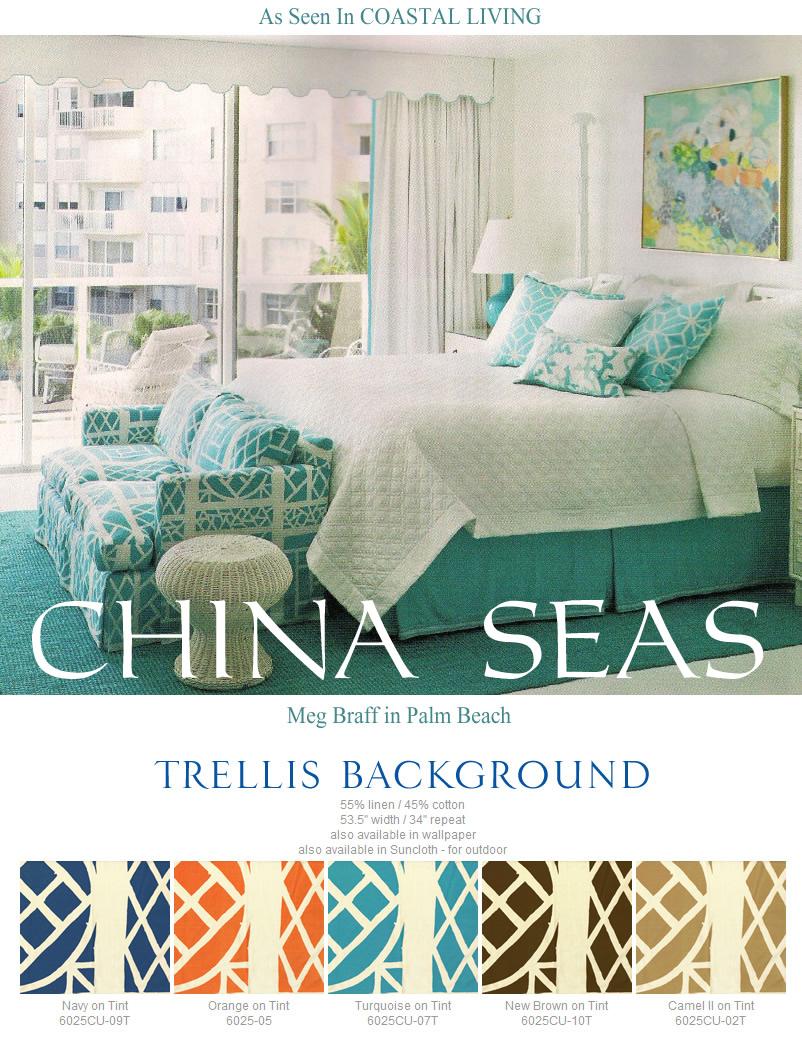 Quadrille Fabric China Seas Trellis Background