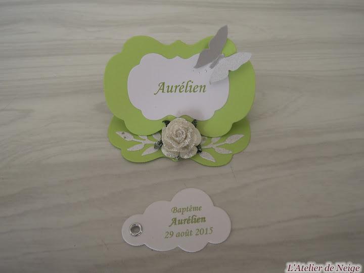 186 - Etiquettes à dragées Baptême  Aurélien 29 août 2015