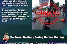 Polri Pastikan Beredarnya Video Rusuh Demo Hari Ini Hoaks