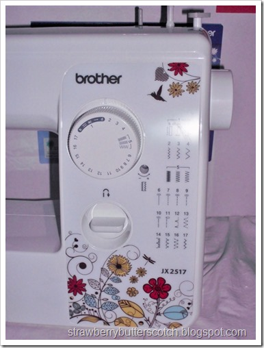 The stitch settings on a Brother JX2517 sewing machine.