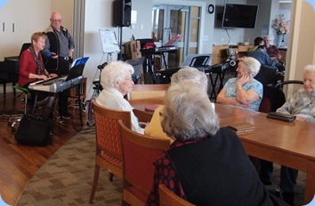 Some views of the Northbridge Village lounge and residents enjoying the music. Whilst Diane Lyons played and sang.