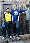 Leonardo- one of the barefoot runners- and Dave at San Isidro Lodge.