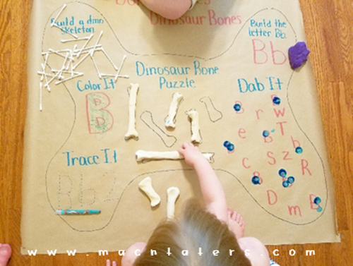 Salt Dough Dinosaur Bones Puzzle Match: Activity mat for Kids
